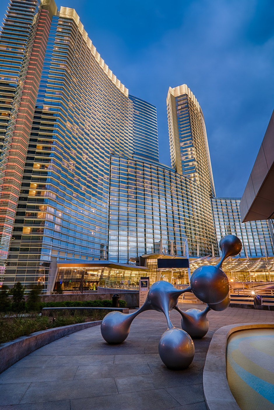 Aria City Center at dusk