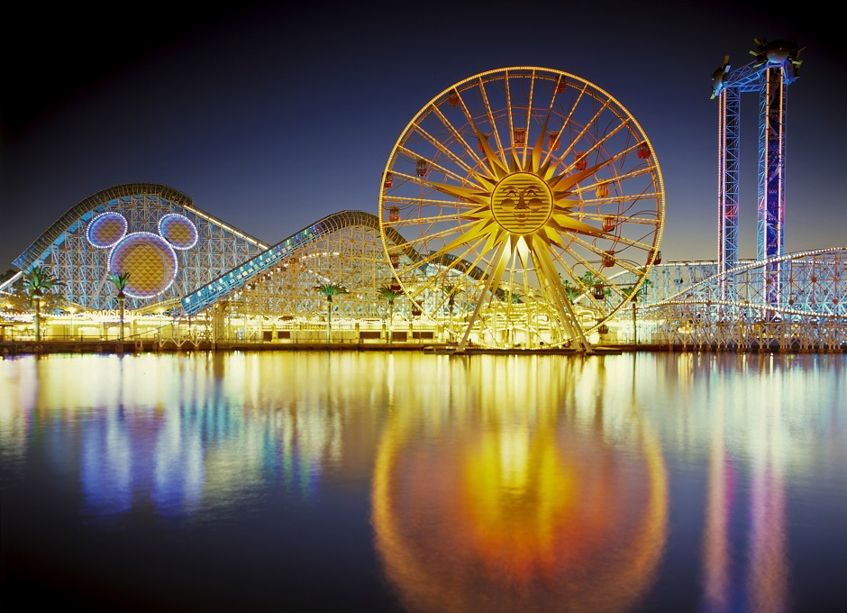 USA: California: Anaheim: Disney's California Adventure: Paradise Pier reflecting at dusk
